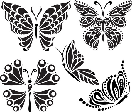 reversal: Butterflies silhouette. Drawing of lines and points. Symmetrical image  Options  Illustration