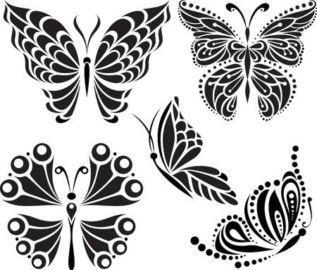 Vlinders silhouet. Tekenen van lijnen en punten. Symmetrische image Opties