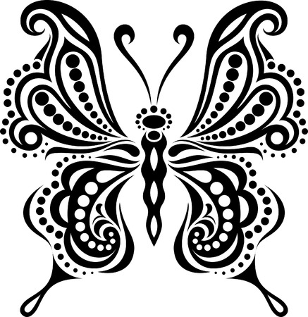 unbuttoned: Delicate butterfly silhouette. Drawing of lines and points. Symmetrical image  Illustration