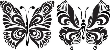 reversal: Delicate butterfly silhouette.  Drawing symmetrical image. Options