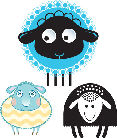 cloven: Caricature of sheep and ram. Option in color and the silhouette version.