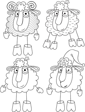 cloven: Linear option of drawing a sheep and sheep.