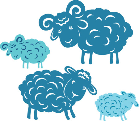 cloven: Vector pair. Silhouette of a ram and sheep.