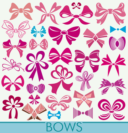 silhouette contour: Options bows drawn and stylized knots. Symmetric and asymmetric