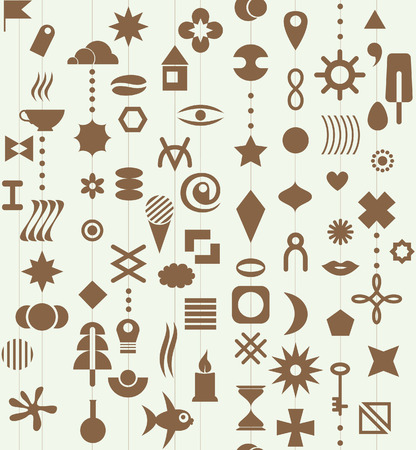 unit: Monochrome set of different geometrical elements. Seamless pattern.
