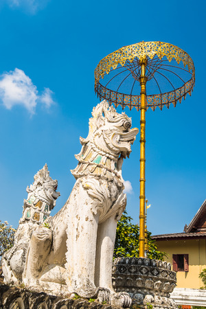 umbrela: Golden umbrela and animals statue at Wat Saen Fang temple  in Chiang Mai, Thailand. Ancient construction of public property