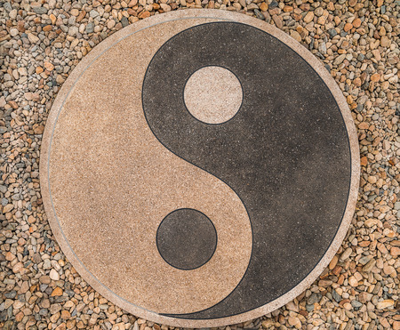 oppositional: yin-yang of the stones on the road