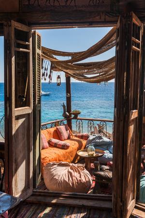 el sheikh: local cafe on the Red Sea coast, Sharm El Sheikh, Egypt