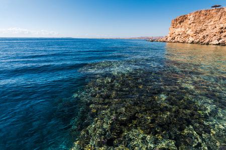 el sheikh: Panorama of the beach at reef, Sharm el Sheikh, Egypt