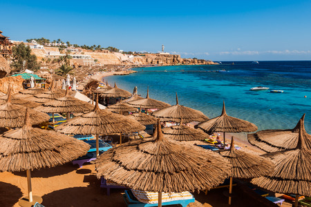 umbrellas on beach  in coral reef,   Sharm El Sheikh,  Egypt