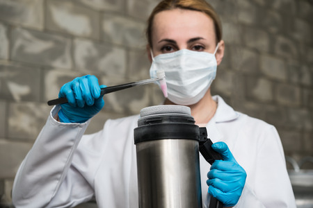 nitrogen: A Liquid Nitrogen bank containing suspension of stem cells. Cell culture for the biomedical diagnostic. Stock Photo
