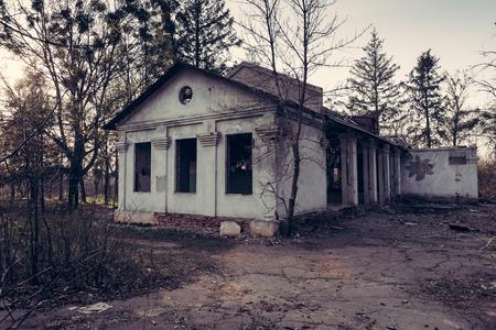 Old abandoned house entrance Stock Photo