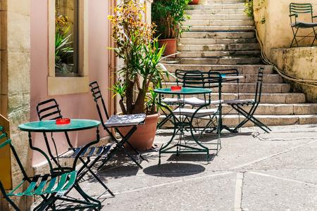 kerkyra: The traditional greek cafe, old town, Kerkyra, Corfu island, Greece Stock Photo