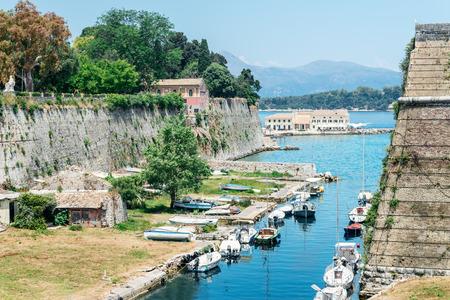 kerkyra: Marina view from The Old Harbor in Corfu island in Greece