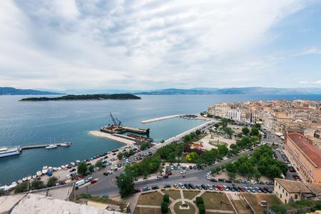 kerkyra: Aerial view to pier with ships from venetian new fortress, Kerkyra, Corfu, Greece.