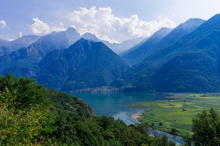 Lago di Mezzola Lake landscape. Water and mountains. Lombardy, Italy, Europe. Reklamní fotografie