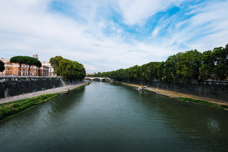tiber: View on bridge over the Tiber river,  Rome, Italy.