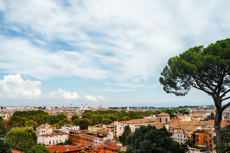 villa borghese: Panoramic view of the historic center of Rome from villa Borghese, Italy. Stock Photo