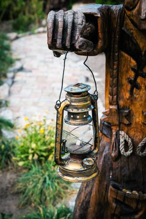 kerosene lamp: kerosene lamp in hands close up