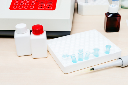 micropipette: Workplace for the biomedical diagnostic. Laboratory analysis. Stock Photo