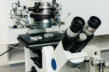 microscope for in vitro fertilization process close up.  Equipment on laboratory of Fertilization, IVF. Standard-Bild