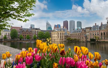 Binnenhof parliament  with modern skyscrapers,  the Hague, Den Haag, Netherlands