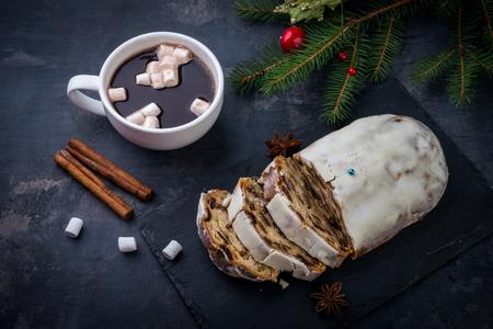 homemade christmas cake, pudding with christmas decoration