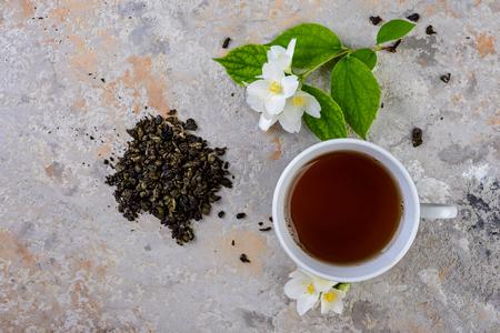 Jasmine tea with jasmine flowers