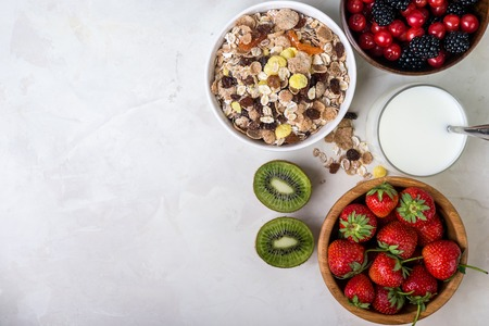Granola with fruits and seeds. Healthy breakfast.