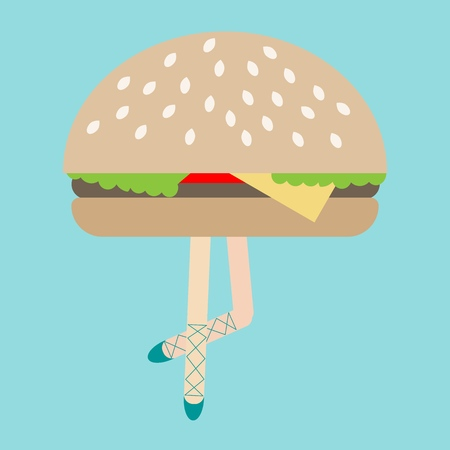 Modern art collage, Zine Culture, funny illustration, exaggeration, comparison, surrealism, female ballerina's legs hamburger, conceptual illustration for various uses in design 向量圖像