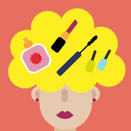 Modern art collage. Woman thinks cosmetics. Young caucasian business woman thinking. Young fashion cosmetic character. Beautiful cartoon character woman thinks cosmetics for concept design.