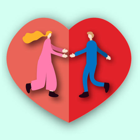 vector romantic illustration, paper art, paper heart, man runs toward woman, they pull hands towards each other, love theme, valentines day, invitation, banner, congratulation exaggeration,