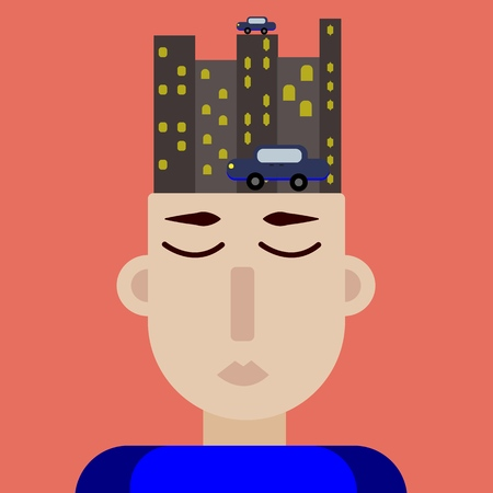 Modern art collage. a man sits at work thinking about how he will go home, night city, car, crazy illustration, abstract art, surrealism, exaggeration, comparison, futurism and fantasy. vector Illustration
