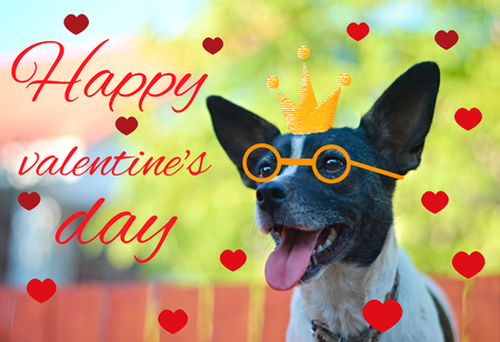 Greeting card for Valentines day, with a cute pug. Cartoon dog with crown and glasses and heart. illustration for a postcard or a poster. Text Happy Valentines Day.