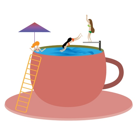Tiny people sit in the pool, jump from a springboard and enjoy life, a big cup of man for them is a pool, small people rest, miniature, surrealism, vector illustration Vettoriali