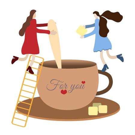 minuscules personnes METAPHOR, minuscules personnes font du thé dans une grande tasse d'un géant, ajoutent du sucre de canne en le remuant avec une cuillère, un monde de jouets pour enfants, illustration vectorielle conceptuelle, illustration pour enfants