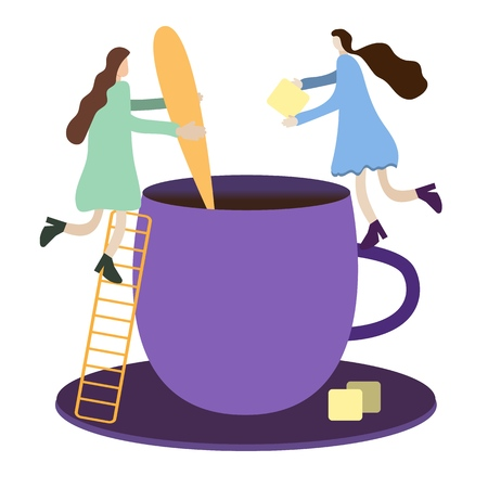 tiny people METAPHOR, tiny people make tea in a big cup of a giant, add cane sugars stir it with a spoon, a toy world for children, conceptual vector illustration, childrens illustration Stok Fotoğraf