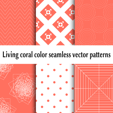 Living coral color seamless vector patterns. Set of abstract backgrounds. Living coral color 2019. Seamless coral print background pattern. Isolated seamless pattern.