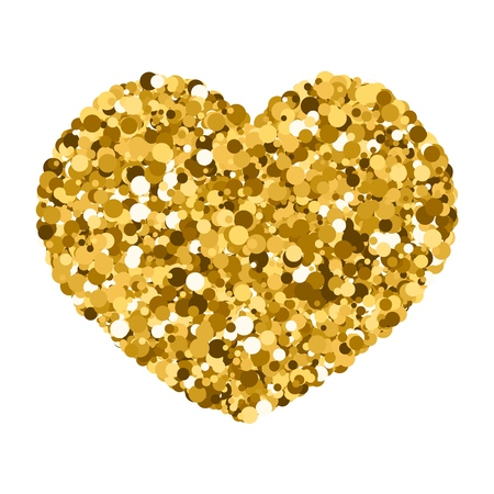 heart of sequins. sequins, vector illustration, the theme of romance, Valentines day, Gold Glitter Heart