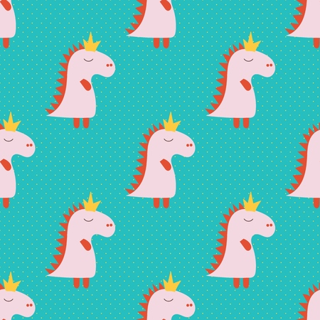 Cartoon seamless pattern with pink cartoon baby dinosaur pattern on green background. Dinosaur baby girl cute print. Cute cartoon dino design. Cute cartoon wild animal. Vector illustration background.