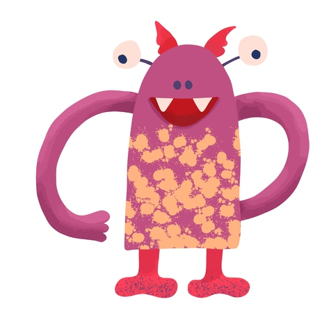 big funny jagged monster of pink color with big hands and yellow spots on the body, children's illustration on various ideas, design element of books, greetings, cards, t-shirts. vector Standard-Bild - 122671492