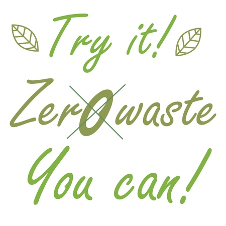 Zero waste call slogan in cartoon style on green background. Stop plastic pollution.