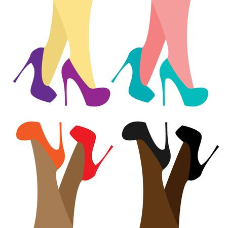 Beautiful line art banner with colored feet on white background. Vector elegant template. Fashion style. womens rights, equality of women of different races, the beauty of female legs. vector