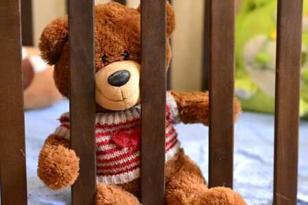 teddybear is sitting in the crib, a photo on the childrens theme, in the childrens bedroom, interior design, cute fluffy bear.