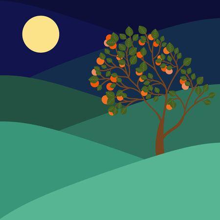 Happy chuseok in cartoon style on purple background. Autumn harvest holiday background. Thanksgiving day. Korean holiday - chuseok. Happy chuseok poster vector illustration. Food silhouette. vector 向量圖像