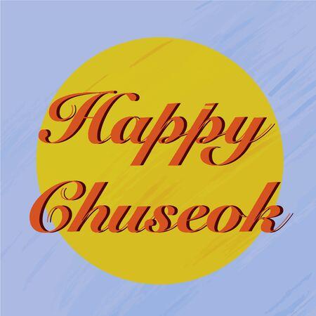 Happy chuseok in cartoon style on purple background. Traditional autumn food. Cartoon flat vector illustration. Vector illustration flat design. Thanksgiving card.