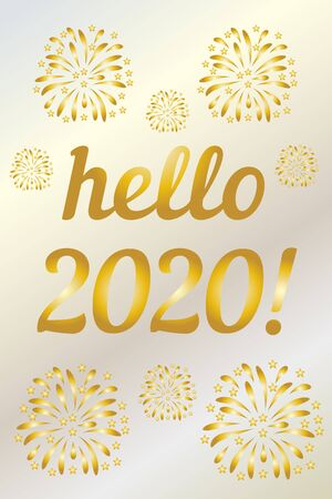 2020 year golden hello vertical on white background. Vector card design. Winter xmas snow background. Happy chinese new year. Happy new year gold color background. Winter season. New message Illusztráció