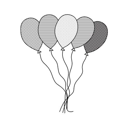 Balloons in doodle style in doodle style on white background. Symbol collection. Vector background illustration. Simple drawing, icon. Vector cartoon design. Simple element illustration