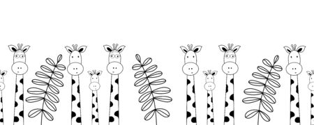 Seamless doodle pattern giraffes. Colorful vector drawing. Seamless texture. Decoration element. Monochrome illustration. Hand drawn background