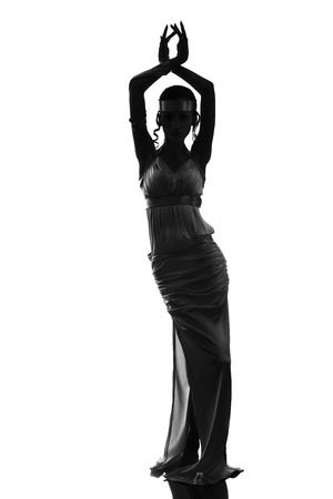 Silhouette of an ancient goddess, isolated on white background photo